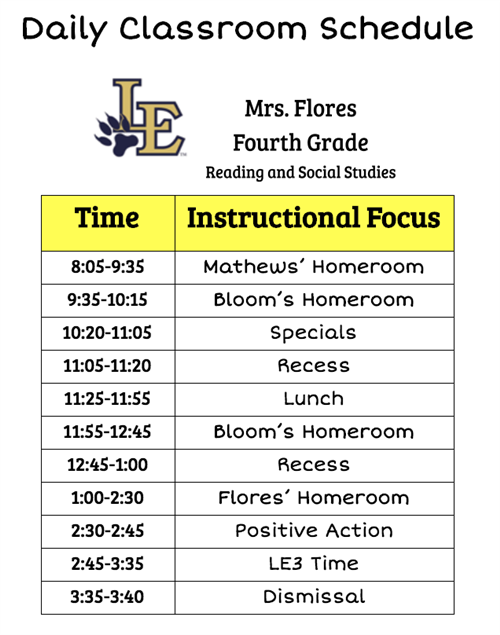 Daily Classroom Schedule