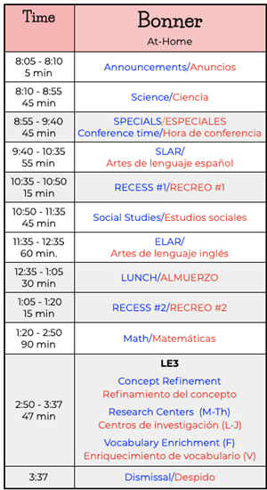 Mrs. Bonner's Class Schedule/Horario de Sra. Bonner