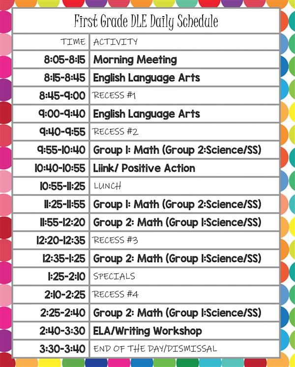 First Grade DLE Daily Schedule