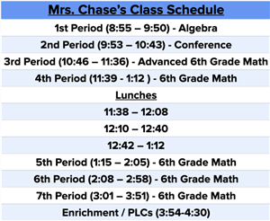 Mrs. Chase's Schedule
