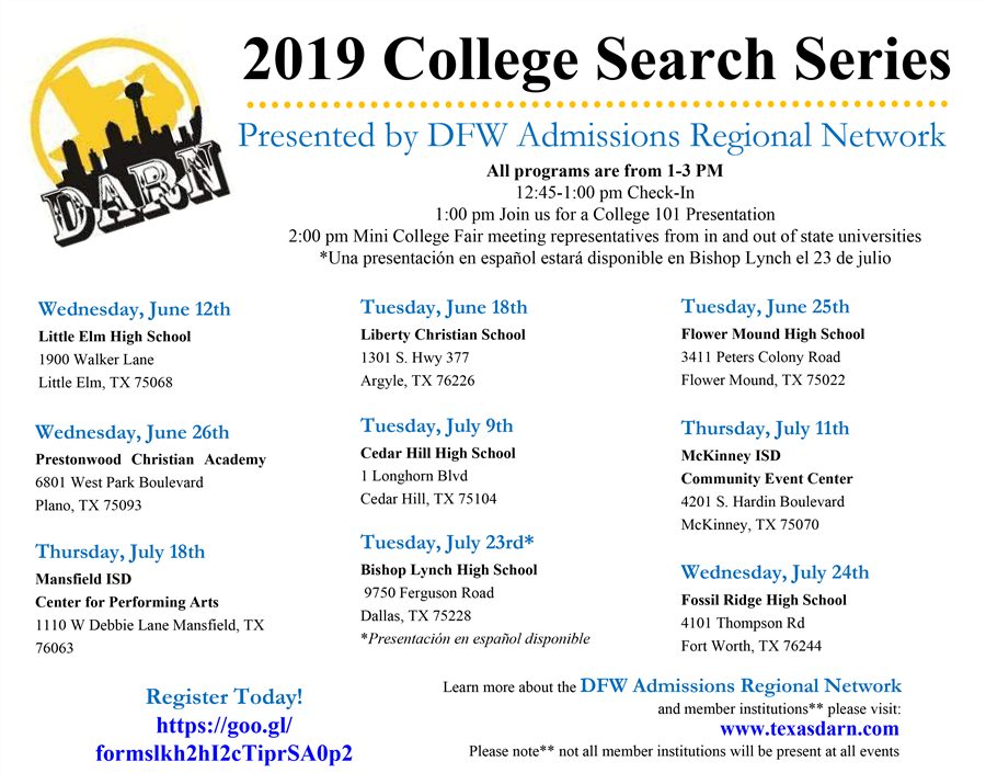 College Search Series Schedule - Click for PDF