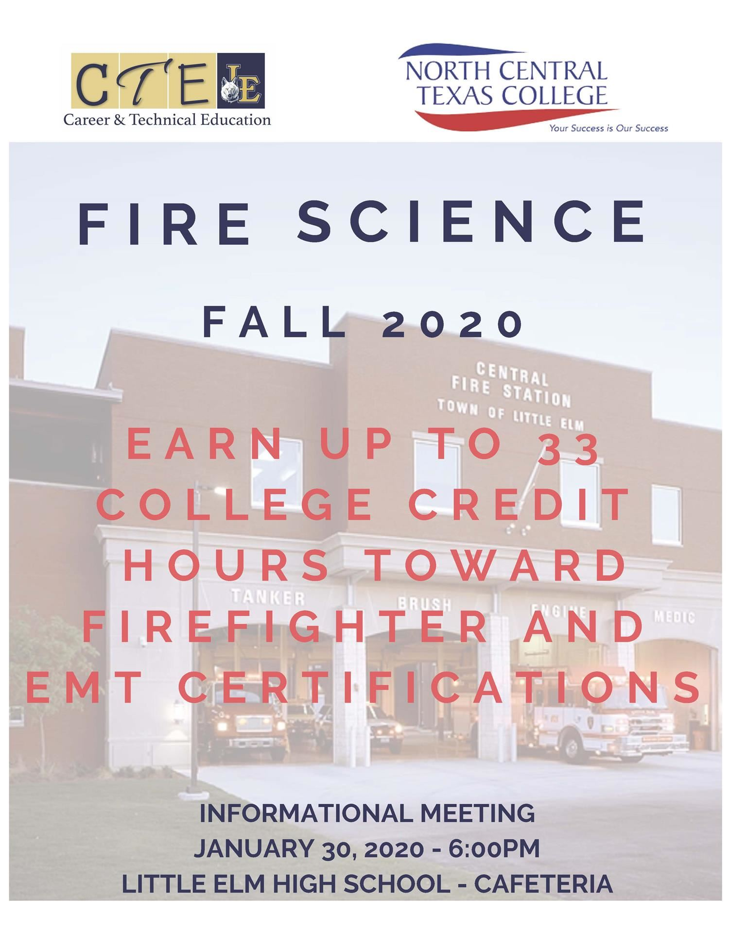 Fire Science Parent Meetings for Current 8th & 9th Graders