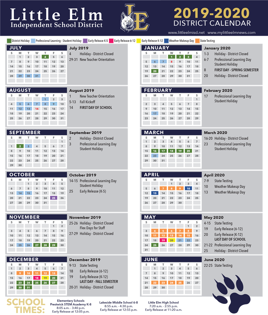 2019-2020 Calendar - Click to open PDF