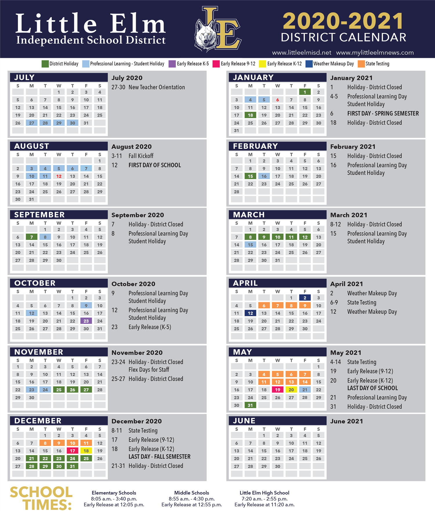 2020-2021 District Calendar - Click to print.