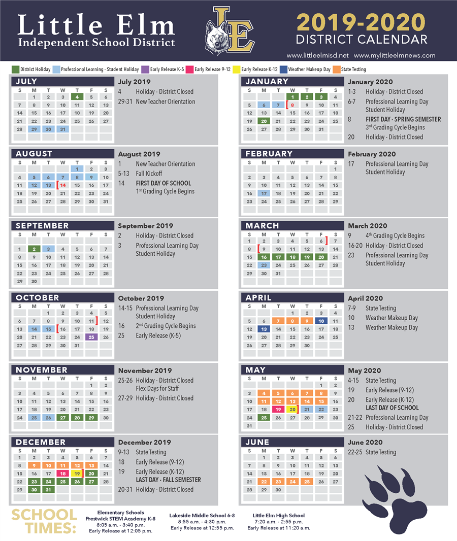 Calendario Fin 2020.District Calendar Academic Calendar