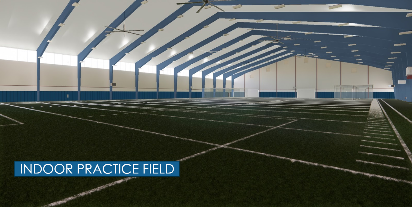 rendered drawing of indoor practice facility