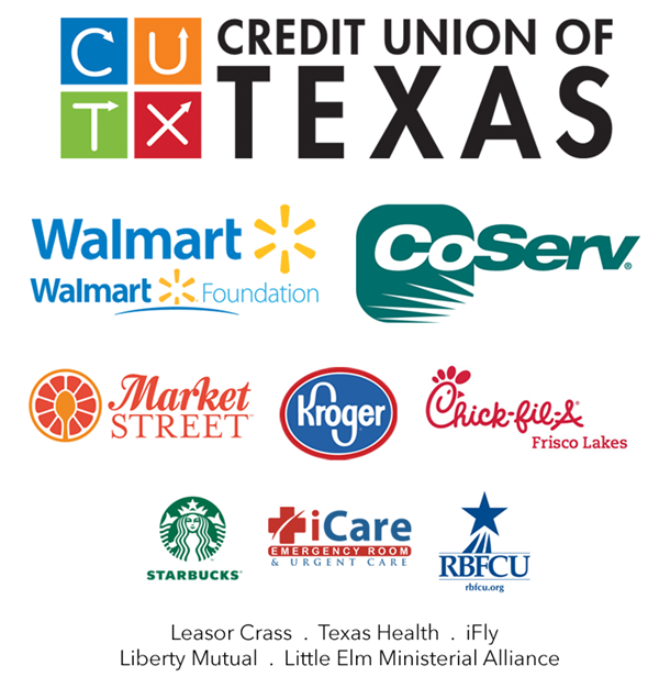 Our Sponsors: Credit Union of Texas, Wal Mart, CoServ, Market Street, Kroger, Chic-fil-A, Starbucks, iCare, RBFCU